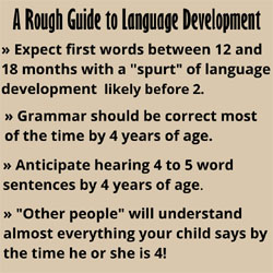Infographic depicting a rough guide to language development, with the following bullet points: 1. Expect first words between 12 and 18 months with a ?spurt? of language development likely before 2. 2. Grammar should be correct mist of the time by 4 years of age. 3. Anticipate hearing 4 to 5 word sentences by 4 years of age. 4. ?Other people? will understand almost everything your child says by the time he or she is 4.